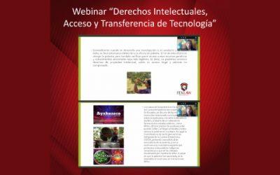 """Webinar """"Derechos Intelectuales, Acceso y Transferencia de Tecnología"""""""